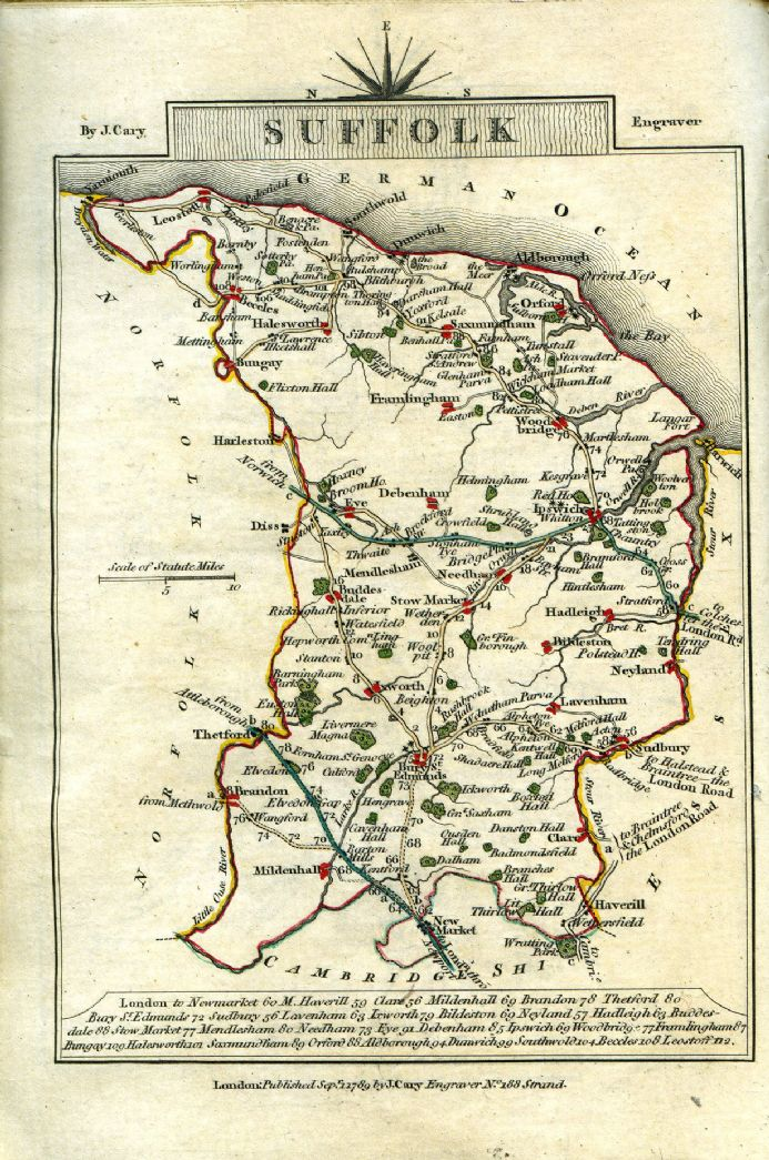 Suffolk County Map by John Cary 1790 - Reproduction